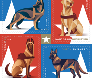 Military dogs on stamps